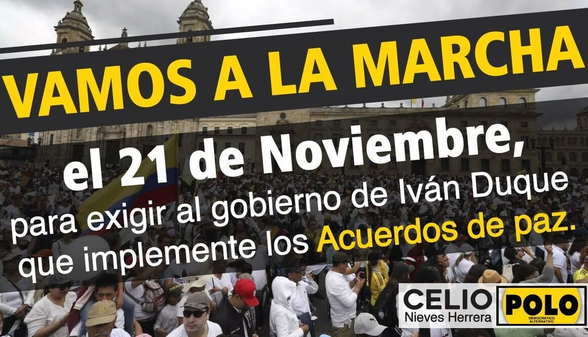 Diseño con el titulo vamos a la marcha el 21 de noviembre